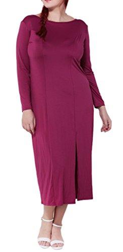 Bigood Robe Violette Femme Grande Taille Manches Longues Col Rond Dos Nu Fendue Cocktail Soirée Violet
