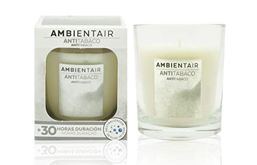 Ambientair Vela VV005TAA, Aroma de Anti Tabaco, Cera, Azul y Blanco, 12x12x12 cm