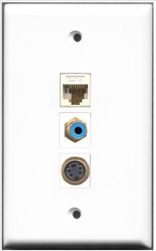 RiteAV-1Port RCA blau und 1Port S-Video und 1Port Cat6Ethernet weiß Wall Plate Decora Insert Flush