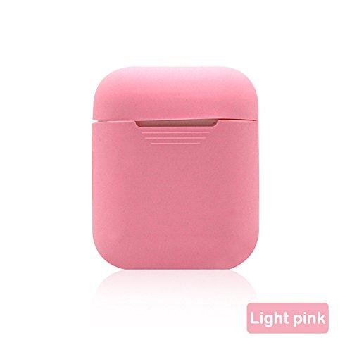 Axusndas, custodia protettiva in silicone multicolore per cuffie Apple Airpods, cuffie wireless e Bluetooth, antismarrimento rosa chiaro light pink