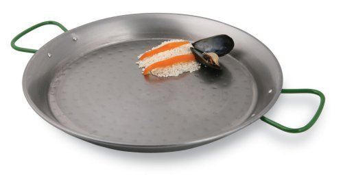World Cuisine 31 1/2 Inch Polished Carbon Steel Paella Pan by Paderno World Cuisine - Paderno Carbon