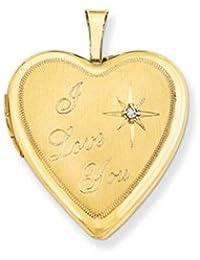 14K 20mm I Love You w/ Diamond Heart Locket by UKGems