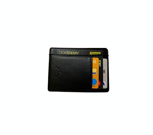 Portafoglio Uomo Piccolo Sottile e Elegante - Blocco RFID - Nero In Pelle di Alta Qualità - Porta Tessere Porta Documenti Porta Carte Di Credito - Design 2020 Italiano