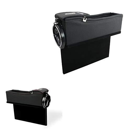 Nlne PU Leder Autositz Catcher, Autositzfüller Lücke Raum Aufbewahrungsbox Flasche Tasse-Haupt- Und Hilfsfahrer Seat Aufbewahrungsbox,Black