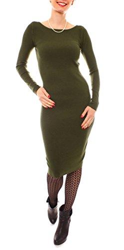 Fragolamoda Damen Winter Midi Kleid Feinstrick Gerippt Strickkleid Eng Rundhals Langarm Wadenlang Einfarbig One Size Olive Khaki (Feinstrick-kleid)