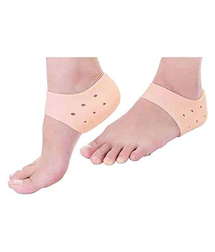 KeepSake Silicone Gel Heel Pad Socks for Pain Relief for Men and Women (Beige, Free Size) - 1 Pair