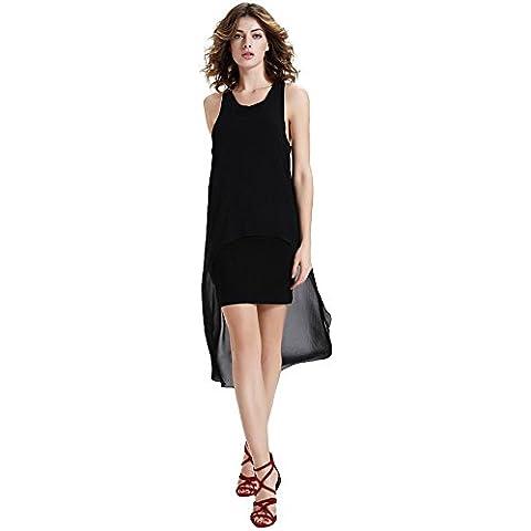 misseurous de la mujer Knit Patchwork Midi de cola Irregular Vestido de dos piezas vestido