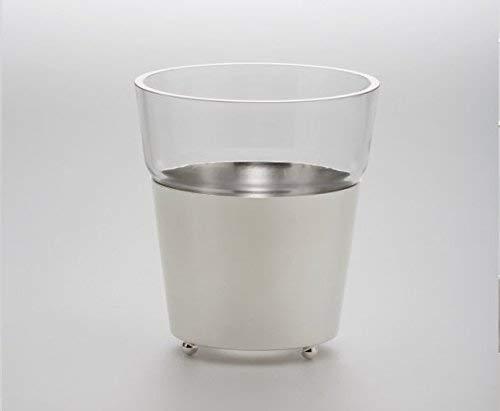 Vase Eiseimer Übertopf mit Glaseinsatz H 25cm D 16cm versilbert