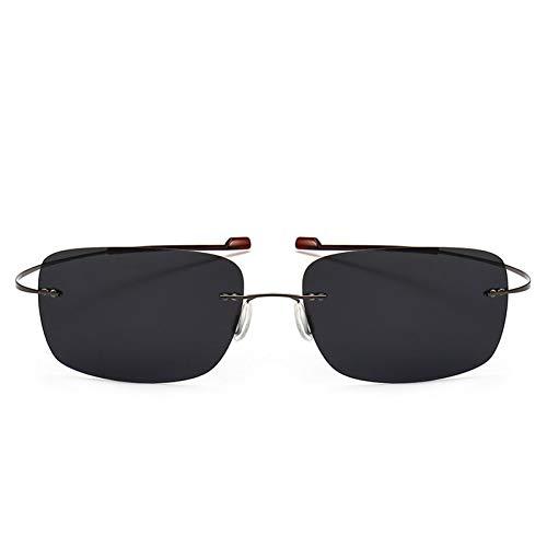 FEYGB Sonnenbrillen Art- Und Weiserandlose Quadratische Titan Sonnenbrille-Mann-Ultraleichte Treibende Sonnenbrille, C