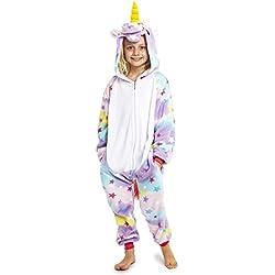 CityComfort Pijamas Enteros de Animales Niños de Una Pieza Suaves, Disfraz Unicornio Niña Gato Mono León, Ropa de Dormir Niña Invierno, Monos Manga Larga Capucha (11/12 años, Unicornio Arcoiris)
