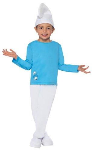Original Die Schlümpfe Lizenz Schlumpfkostüm Kostüm für Kinder Kinderkostüm der blauen Schlümpfe blau Smurfs Fasching Karneval Gr. 98-104 (T), 110-122 (S), 128-134 (M), 140-158 (L), Größe:S (Kinder Abenteuer Mal Kostüm)