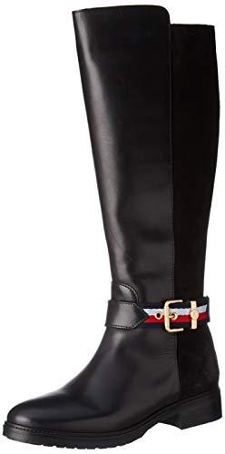 Tommy Hilfiger Damen Corporate Belt Long Boot Hohe Stiefel, Schwarz (Black 990), 40 EU