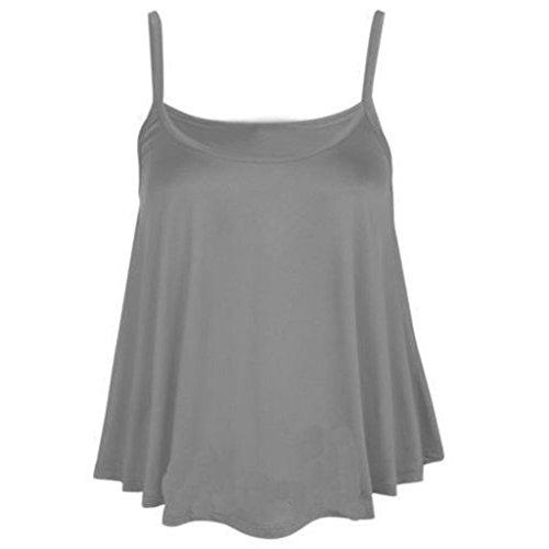 Maglietta senza maniche da donna estate Vovotrade Maglietta felpata casual con camicetta in poliestere Grigio