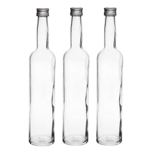10 leere Glasflaschen 500 ml BOR Flasche Saftflaschen Flaschen mit Schraubverschluss zum selbst Abfüllen 0,5 Liter l Likörflaschen Schnapsflaschen Essigflaschen Ölflaschen Höhe 32 cm, von slkfactory
