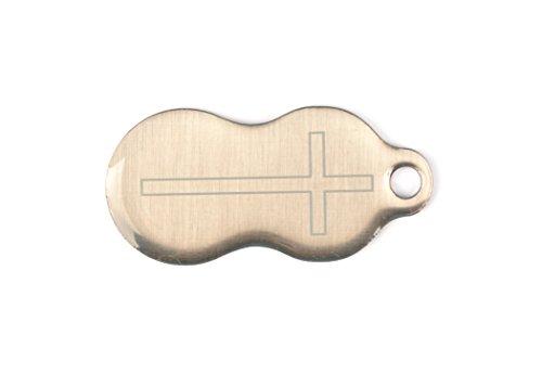 Einkaufswagenchip und Schlüsselanhänger Motiv: Kreuz aus Edelstahl mit Schlüsselschutz