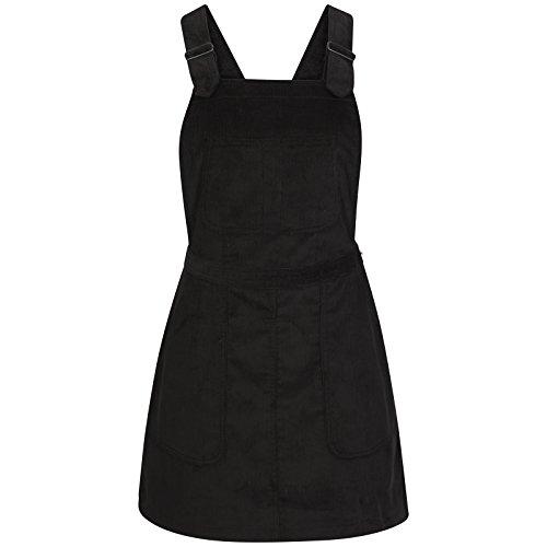 TTC Womens Ladies Cord Dungaree Skirt Dungaree Pinafore Black