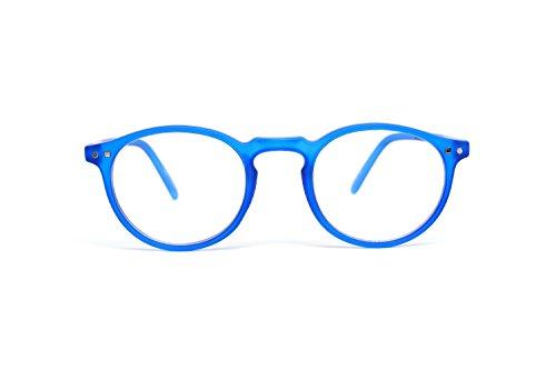 FEEGOO Lesebrille Mann/Frau Unisex Graduiert +2.0 Dioptrien Blaues Rundes kleines Gestell Super Light Dünn Verschiedene Farben