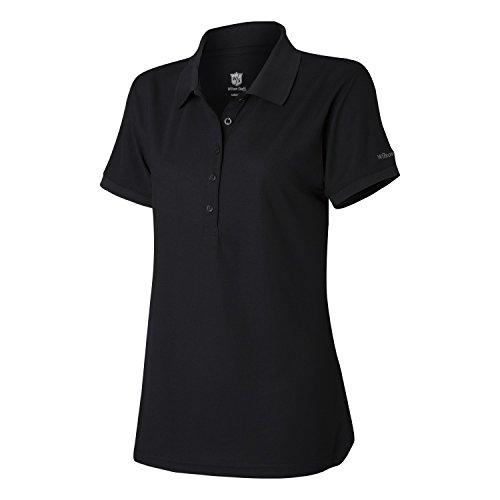 Wilson Golf Femme Polo de sport, AUTHENTIC POLO, Polyester, Noir (Deep Black), Taille: XL, WGA700316