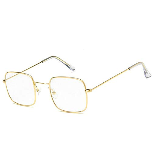 GBST New Retro Flat Mirror Fashion Trendy Glasses Man Can Be Equipped with Myopic Metal Frame,Gold Clear