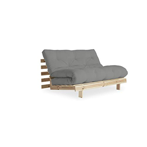 KARUP DESIGN Roots 2 sitzer Futon Schlafsofa im skandinavischen Stil Sofa mit Schlaffunktion im Natur Holz mit Grau Matratze 140 x 200, Gestell: nordische Kiefer FSC-zertifiziert, 20 x 140 x 200