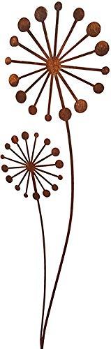 Bornhöft Gartenstecker Puste - Blume Blüten Metall Rost Gartendeko Edelrost Groß 118cm (118)