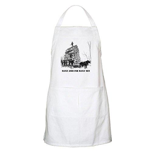 CafePress–Manly Arbeitsplätze für männliche Herren–Küche Schürze mit Taschen weiß (Schürze Männliche Kochen)