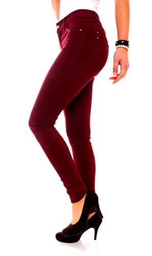 Easy Young Fashion Damen Jeggings Miss Anna Bordeaux