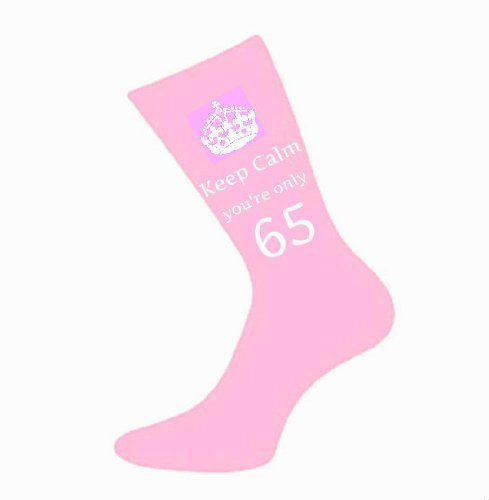 Ladies Keep Calm You're Only 65 Pink Socks 65th Birthay Present A Fun Novelty Gift for Sister, Friend, Auntie, Gran