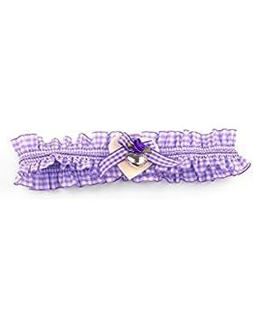 Trachten - Strumpfband kariert lila