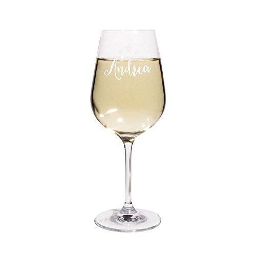 PrintPlanet Weißweinglas mit Namen Andrea graviert - Leonardo Weinglas mit Gravur - Design Sterne