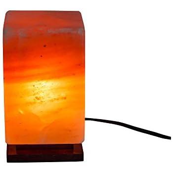 Salt Kingdom Himalayan Natural Rectangular Crystal Rock Night Light Salt Lamp Ionic Air Purifier, Decorative Genuine Wood Base with Cord, UK Plug Electric Wire, Light Bulb