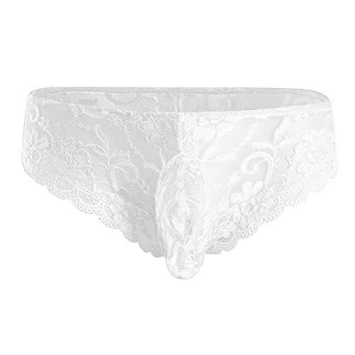 CHICTRY Transparent Mesh Herren Unterwäsche durchsichtig Slips Push-up Unterhosen Bikini Brief Tanga Shorts M L XL Weiß Medium