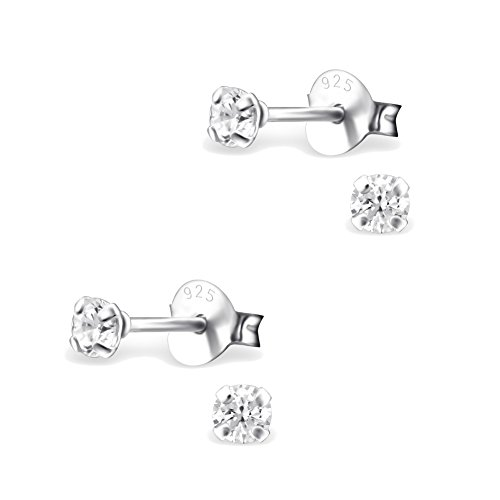 2 Paar Kleine 925 Silber Ohrstecker Ohrringe mit Zirkonia hell 3mm für Damen, Herren, Kinder und Jugendliche