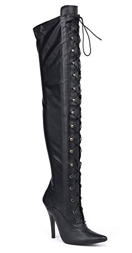Herren Schwarz Overknee-Stiefel Schenkel-Hoch Sexy Stiletto-Absatz Erotische Fetisch-Stiefel, Verschiedene Designs , Mehrfarbig - Black Matt (11720) - Größe: 46 EU