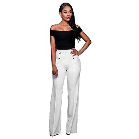 Jamicy Sexy Women Fashion Slim High Waist Flare Wide Leg Palazzo Casual Long Trousers Pants (S,