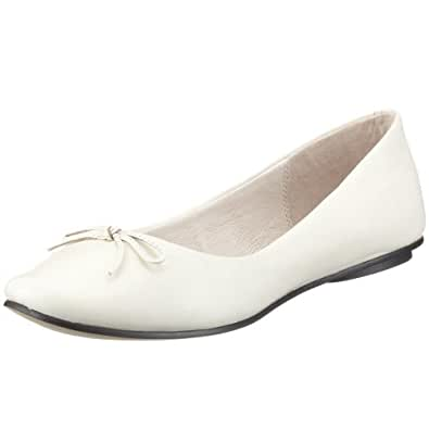 Buffalo London 206-5155-1 KID LEATHER WHITE 90759, Damen, Ballerinas, Weiss (WHITE), EU 42