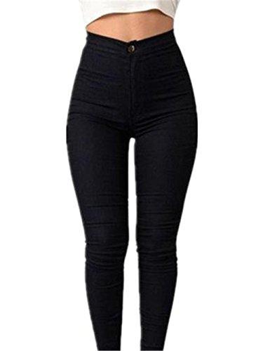 Sky Mujeres Denim Jeans Chica Casual Pantalones Vaqueros Cintura los Pantalones del lápiz del Estiramiento (L, Negro)