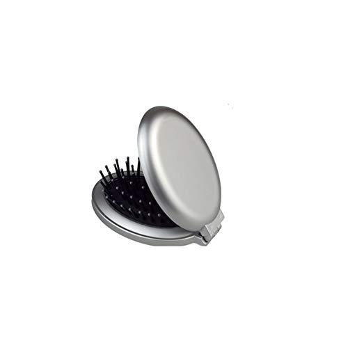 Tragbarer, runder Mini-Haarspiegel, zusammenklappbar, für Reisen, Airbag-Massage mit Bürste
