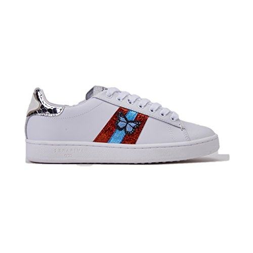 Serafini Sneakers JCONNORSJCO06/WHITE/BUTTERFLY, Colore biacno In Pelle, CON Motivo Fantasia, Nuova Collezione Primavera Estate 2018