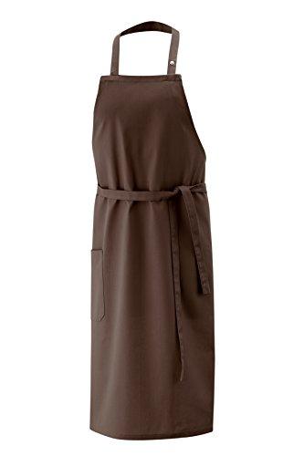 Latzschürze toffee Länge 100cm Breite 80cm, 65% Baumwolle und 35% Polyester, Nackenband verstellbar, 1 Tasche -