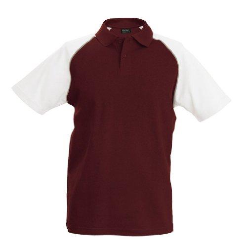 Trendiges Piqué Baseball Poloshirt Bordeaux/Light Grey/White