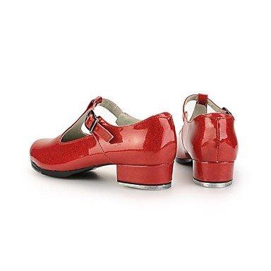 XIAMUO Women's Patent Obermaterial Leder Schuhe mit Buckie (weitere Farben) Schwarz