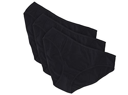 Clotho Hipster Spitzen-Höschen, geruchshemmende Kupfer-Baumwolle, 3 Stück - schwarz - X-Groß (Hipster-höschen)