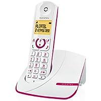 Alcatel Alcatel F390- Téléphone sans fil ultra efficace au design coloré, Pure Sound, Mains libres, Grand écran rétroéclairé, Grand répertoire, Sonnerie VIP - Blanc/Rose