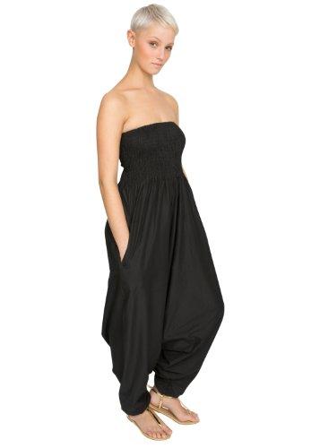 Extraweite Haremshose bzw Einteiler aus Baumwolle Schwarz
