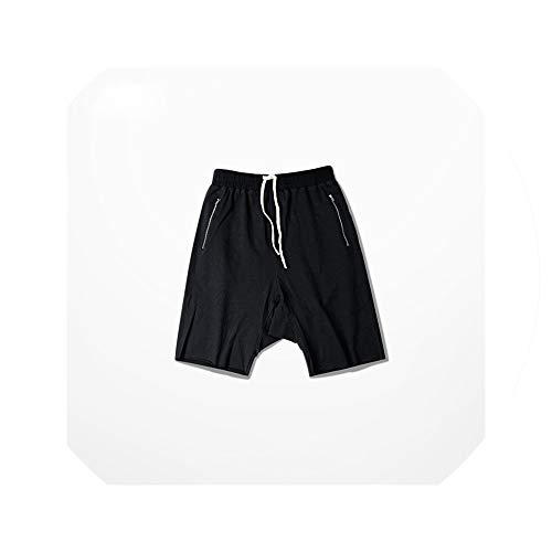 Men Drop Crotch Boardshort Grey Black hip hop Street Kanye West Style Shorts Justin Bieber Drawstring Casual Cargo Short,Black,L (Short Belly Button Ringe)