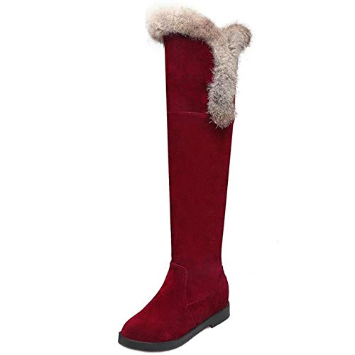 Lydee Damen Casual Stiefel Keilabsatz Thight High Stiefel Pull On Kniestiefel Warm Gefüttert High Stiefel Mid Heel Red Gr 34