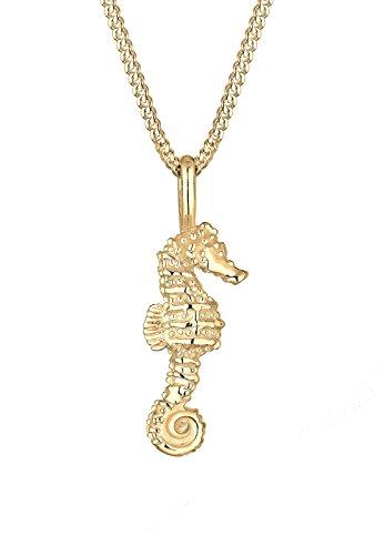 Elli Damen-Halskette mit Anhänger Seepferdchen Maritim Meer Strand Urlaub Fernweh vergoldet silber 925 0102222916_45 - 45cm Länge