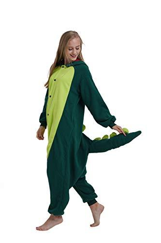 Casa Pyjamas Tieroutfit Schlafanzug Tier Onesies Sleepsuit mit Kapuze Erwachsene Unisex Overall Halloween Kostüm (Small, Grün Dinosaurier)