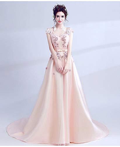 YT-ER V-Ausschnitt Gold Seide Bestickte Handgemachte Perlen Kleid Edle Satin Langes Kleid Rückenfreie Blumen Perlen Brautkleid, Rosa, L - Seide Trägerlosen Brautkleid